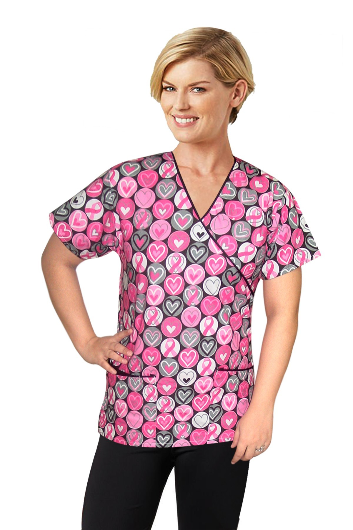 Top mock wrap 3 pocket half sleeve in pink ribbon with black piping