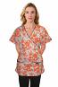 Top mock wrap 3 pocket half sleeve in petal orange print with black piping