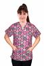 Printed scrub set 4 pocket ladies half sleeve in pink ribbon (2 pocket top and 2 pocket pant)