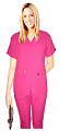 Microfiber scrub set 5 pocket solid ladies front open collar with snap buttons half sleeve (2 pkt top with pencil pocket , 2pkt bootcut pant)