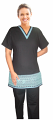Lace  spa v neck top without pocket half sleeve ladies with matching stripe style solid