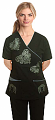Stylish scrub set with mock wrap gothic print 5 pocket  (top 3 pocket with bottom 2 pocket boot cut