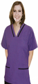 Contrast bias v-neck tunic style 2 pocket top half sleeve