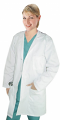 "Twill labcoat ladies full sleeve with snap buttons 3 pocket solid (48%cotton 52%polyester) in 36"",38"",40"",42"" lengths"