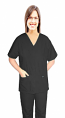 Stretchable Scrub set 4 pocket solid ladies front open v-neck with snap buttons half sleeve (2 pocket top 2 pocket boot cut pant) in 97% Cotton 3% Spandex
