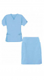 Stretchable Scrub skirt set 4 pocket ladies half sleeves (2 pocket top 2 pocket skirt) in 97% Cotton 3% Spandex