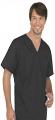 Stretchable Top v neck 1 pocket solid half sleeve unisex in 97% Cotton 3% Spandex