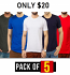 Pack Of 5 Round Neck Tshirts Only $20 in Multiple Colors