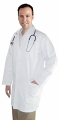 """Twill labcoat unisex full sleeve with snap buttons 3 pocket solid (48%cotton 52%polyester) in 36"""",38"""",40"""",42"""" lengths"""