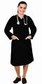Microfiber v neck full sleeve nursing dress with 2 front pockets knee length