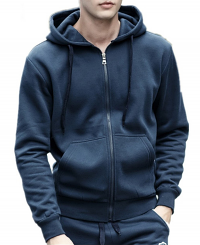 Unisex round neck Full-zip Hoodie 2 pockets Full sleeves with rib