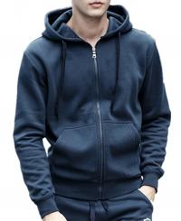 Unisex round neck Full-zip Hoodie 2 pockets Full sleeves with rib