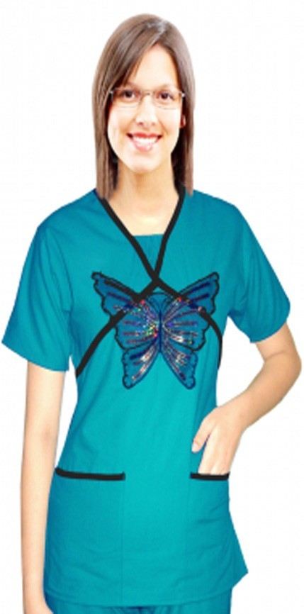 Stylish top big golden butter fly double crossover style top half sleeve with ruffle at neck