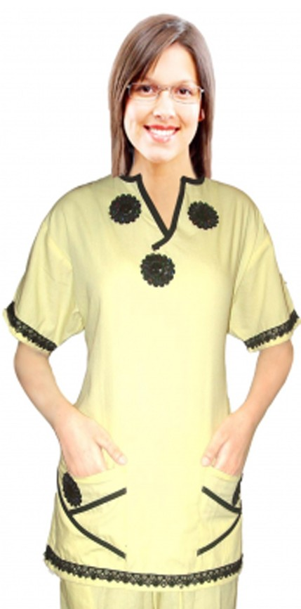Stylish top new bunch flowers style top 2 pocket half sleeve ladies y-neck style
