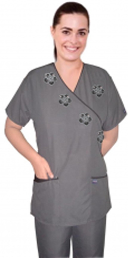 Stylish top black flower mock wrap microfiber grey top with half sleeve