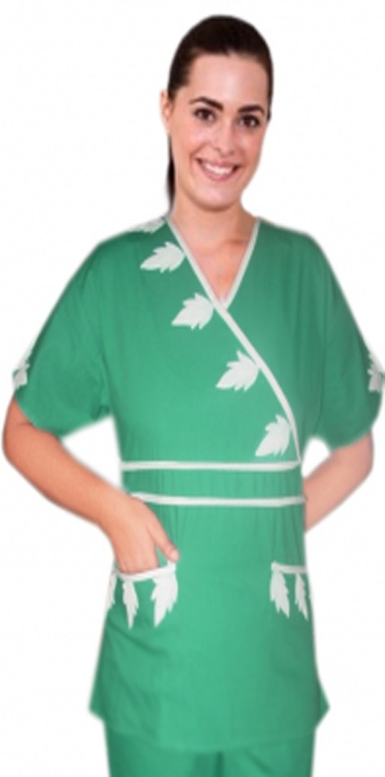 Stylish top painted white leaf style crossover top double piping solid 2 pocket half sleeve