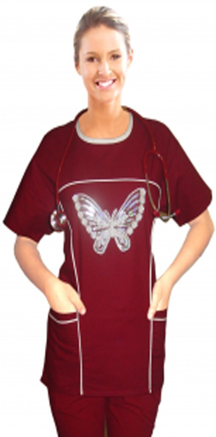 Stylish top big white  butter fly  scoop neck contrast piping top with 4 pocket half sleeve