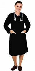Microfiber v neck full sleeve nursing dress with 2 front pockets knee length