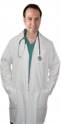 "Poplin labcoat unisex full sleeve with plastic buttons 3 pockets solid pleated (48% cotton 52% polyester) in 36"",38"",40"",42"" lengths"