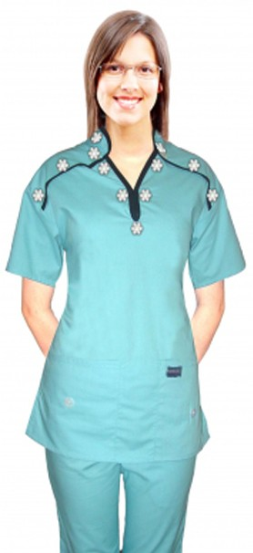 Stylish set small white flower m style collar 4 pocket ladies scrub set half sleeve (top 2pkt with bottom 2pkt boot cut)