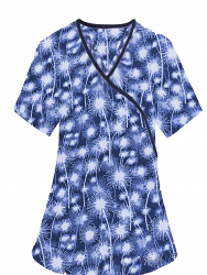 Top mock wrap 3 pocket half sleeve in Blue Fire Work Print with black piping