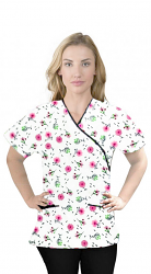 Top mock wrap 3 pocket half sleeve in Cherry Blossom Print with black piping