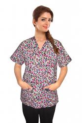 Printed scrub set 4 pocket ladies half sleeve in purple and pink (2 pocket top and 2 pocket pant)