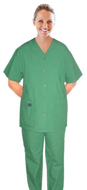 Scrub set 6 pocket v neck ladies (top 4 pkt with horn buttons (pocket over pocket style) with pencil pkt pant 2 pkt boot cut)
