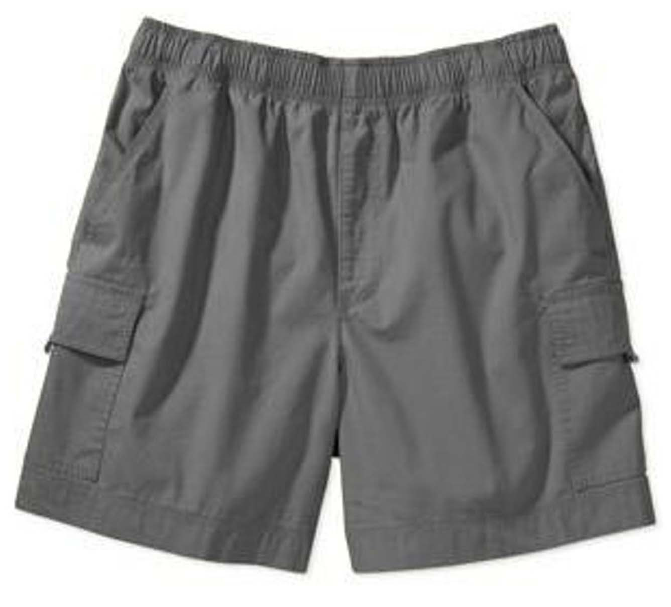Poplin fabric cargo shorts full elastic waistband  2 side pocket 2 cargo pocket with flap 1 back patch pocket (inseam is 5 inches)
