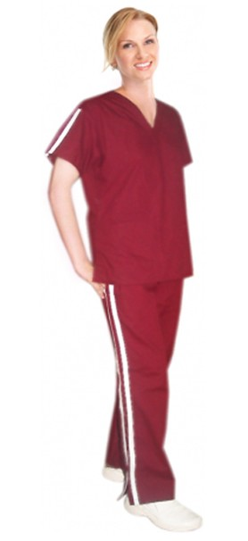 Double vertical style trim ladies 4 pocket set half sleeve (2 pocket top +2 pocket bootcut pant)