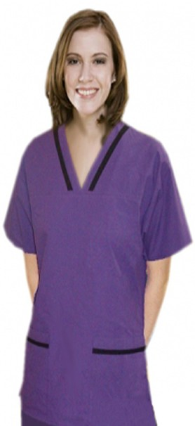 Contrast bias v-neck tunic style 4 pocket half sleeve with matching bottom (top 2 pkt with bottom 2 pkt boot cut)