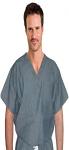 Denim scrub top v neck 1 pocket normal half sleeve unisex