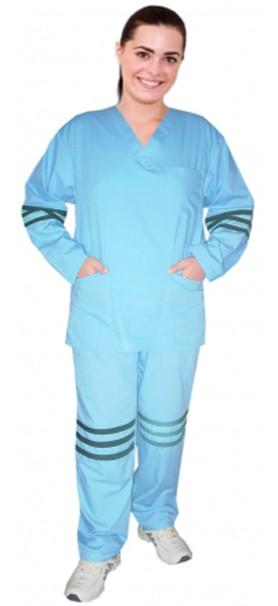 Stripes style ladies v-neck 5 pocket set full sleeve (3 pocket top and 2 pocket pant)