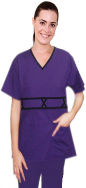 Microfiber v-neck double piping 3 cross style 5 pocket set half sleeve (top 2 pocket with bottom 3 pocket)