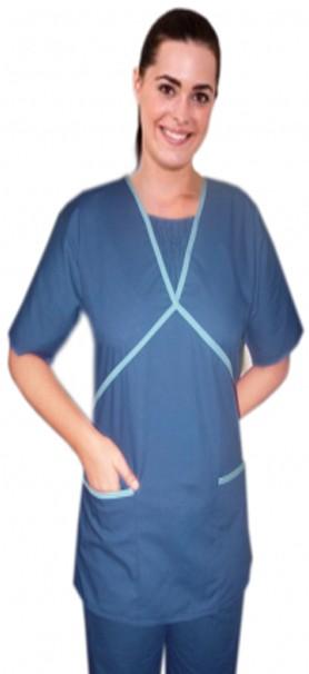 Ruffle at neck double crossover style set half sleeve 4 pocket set (2 pocket top, 2 pocket bootcut pant)