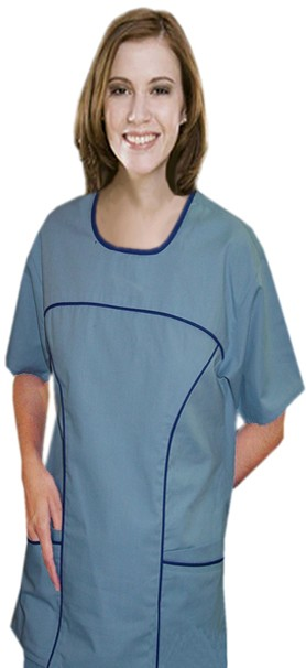 Scoop neck contrast piping 6 pocket set half sleeve (top 4 pocket with bottom 2 pocket boot cut)