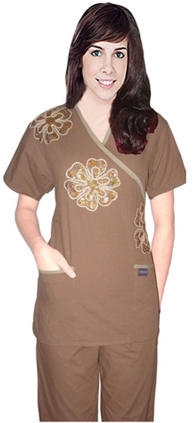 Stylish set big golden flower crossover set solid 5pkt half sleeve (top 2pkt with bottom 3pkt)