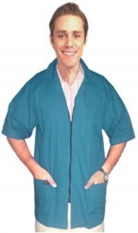 Collar style barber jacket 3 pocket half sleeve with zipper poplin fabric