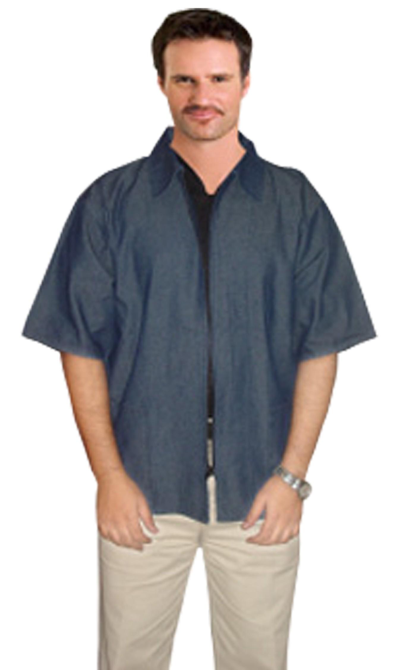 Denim barber jacket 2 pockets half sleeve with zipper dark shade