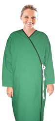 New style patient gown solid full sleeve with contrast piping front open tieable