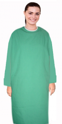 Patient gown full sleeve with contrast piping back open, tie-able from two points