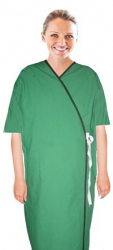 Microfiber New Patient Gown Solid half sleeve with contrast piping front open tie-able