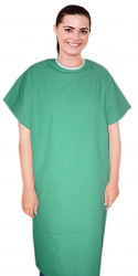 Microfiber Patient gown half sleeve with contrast piping back open, tie-able  from two points