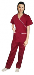 Scrub set mock wrap 5 pocket solid half sleeve (top 3 pkt with bottom 2 pkt boot cut)