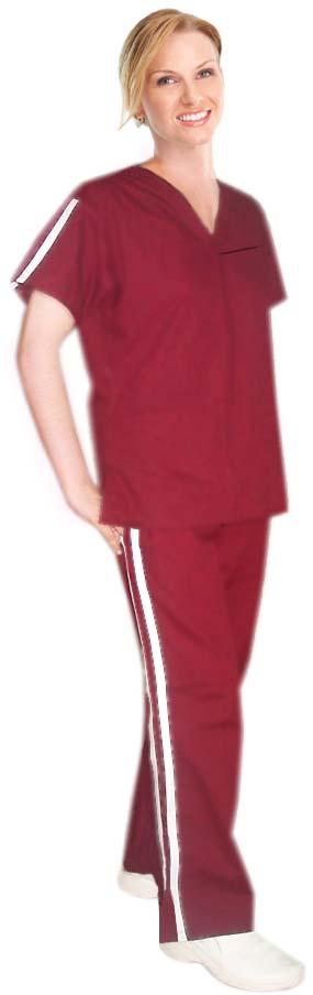 Microfiber double vertical style trim ladies 4 pocket set half sleeve (2 pocket top +2 pocket bootcut pant)