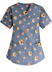 Top v neck 2 pocket half sleeve in Navy Print with black flower