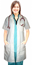 "Poplin labcoat ladies half sleeve with plastic buttons 3 pockets solid pleated (48% cotton 52% polyester) in 36"",38"",40"",42"" lengths"