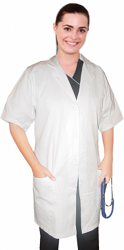 "Twill  labcoat ladies half sleeve with plastic buttons 3 pockets solid pleated (48% cotton 52% polyester) in 36"",38"",40"",42"" lengths"
