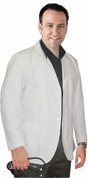 Consultation labcoat men full sleeve with plastic buttons 3 pockets in (48 perc cotton,52 perc polyester) poplin fabric