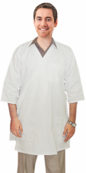Twill labcoat unisex half sleeve with side tieable 3 pocketsolid in 37 inch lengths